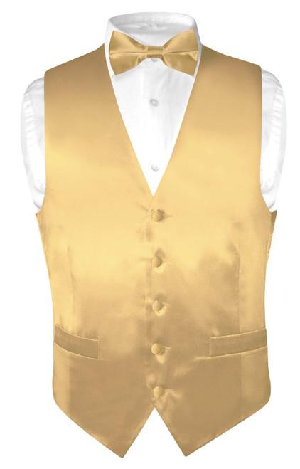 Biagio Mens Silk Dress Vest & Bow Tie Solid Gold Color BowTie Set