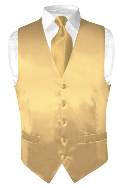 Gold Color Vest | Gold Color NeckTie | Silk Solid Vest Neck Tie Set