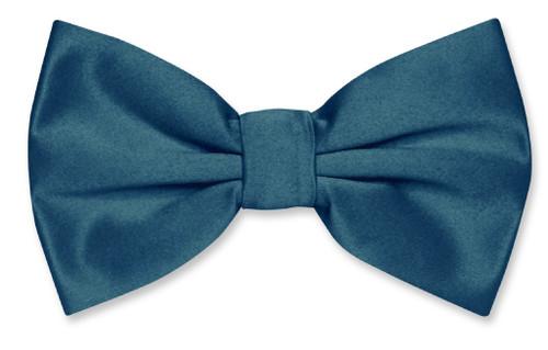 Vesuvio Napoli BowTie Solid Blue Sapphire Color Mens Bow Tie