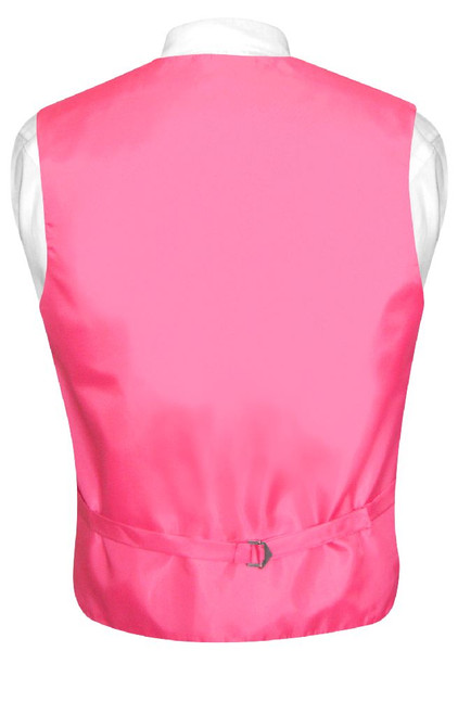 Mens Dress Vest & NeckTie Solid Hot Pink Fuchsia Color Neck Tie Set