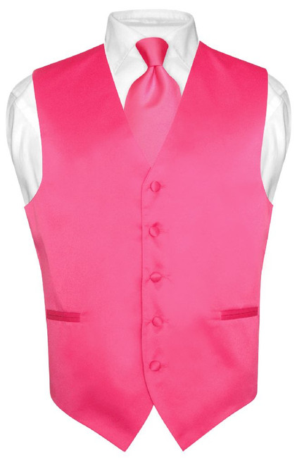 Mens Dress Vest & NeckTie Solid Hot Pink Fuchsia Color Neck Tie Set
