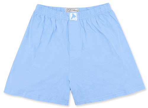 100% Knit Cotton Boxer Shorts | Biagio Mens Solid Baby Blue Boxers