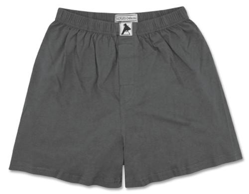 100% Knit Cotton Boxer Shorts | Biagio Mens Charcoal Grey Boxers