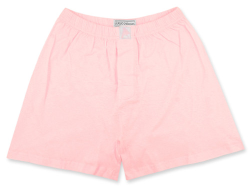 100% Knit Cotton Boxer Shorts | Biagio Mens Solid Light Pink Boxers