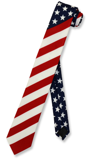 American Flag Tie | Skinny Mens USA Neck Tie | Patriotic Necktie