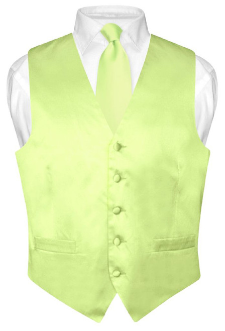 Lime Green Vest and Neck Tie | Silk Solid Color Vest NeckTie Set