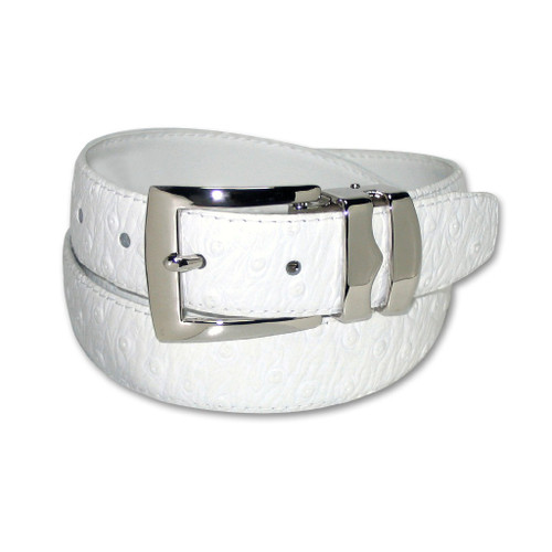 Ostrich Pattern White Bonded Leather Mens Belt Silver-Tone Buckle
