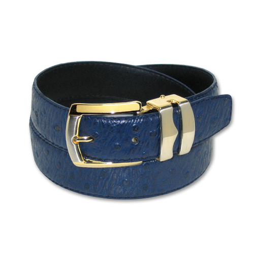 Ostrich Pattern Navy Blue Bonded Leather Mens Belt Gold-Tone Buckle