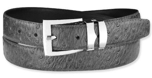 Ostrich Pattern Charcoal Gray Bonded Leather Belt Silver-Tone Buckle