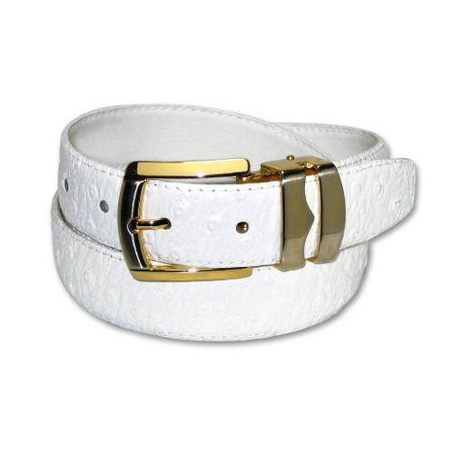 Ostrich Pattern White Bonded Leather Mens Belt Gold-Tone Buckle
