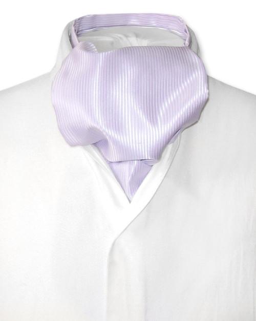 Lilac Purple Cravat | Solid Color Ribbed Ascot Cravat Mens Tie