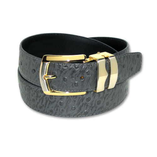 Ostrich Pattern Charcoal Gray Bonded Leather Belt Gold-Tone Buckle
