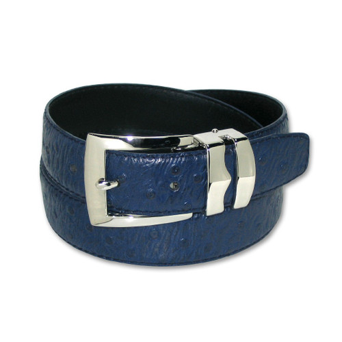 Ostrich Pattern Navy Blue Bonded Leather Mens Belt Silver-Tone Buckle