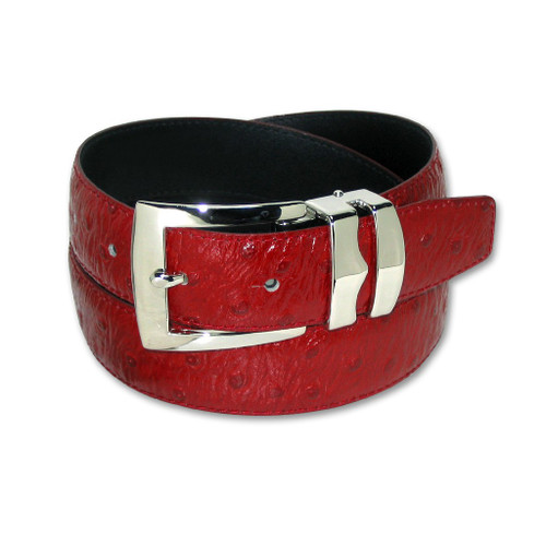 Ostrich Pattern Red Bonded Leather Mens Belt Silver-Tone Buckle