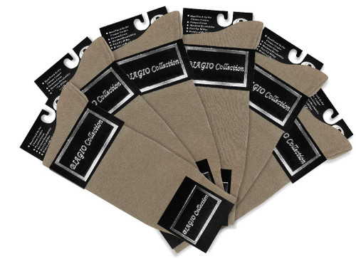 Taupe Light Brown Mens Dress Socks | 6 Pair Of Biagio Cotton Socks