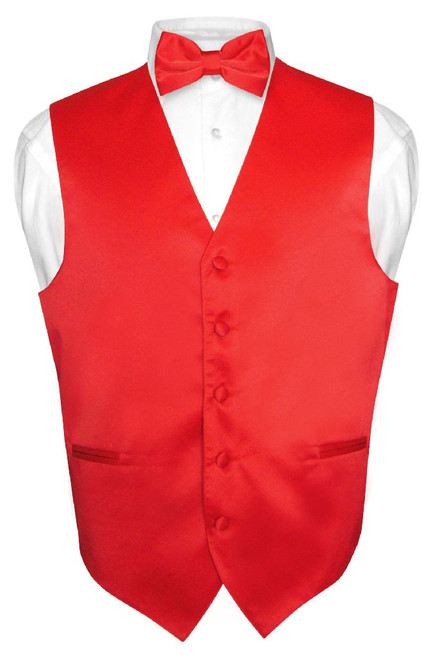 Mens Dress Vest & BowTie Solid Red Color Bow Tie Set