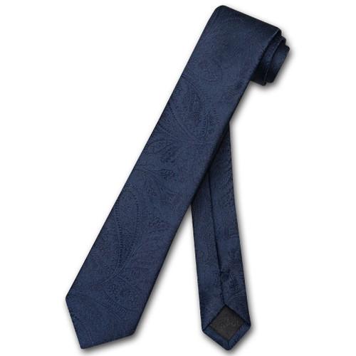 Vesuvio Napoli Narrow NeckTie Solid Navy Blue Paisley Skinny Mens Tie