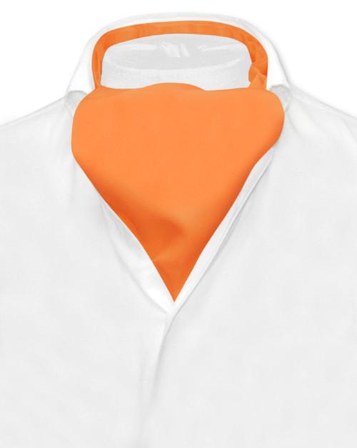 Orange Cravat Tie | Vesuvio Napoli Mens Solid Color Ascot Cravat Tie