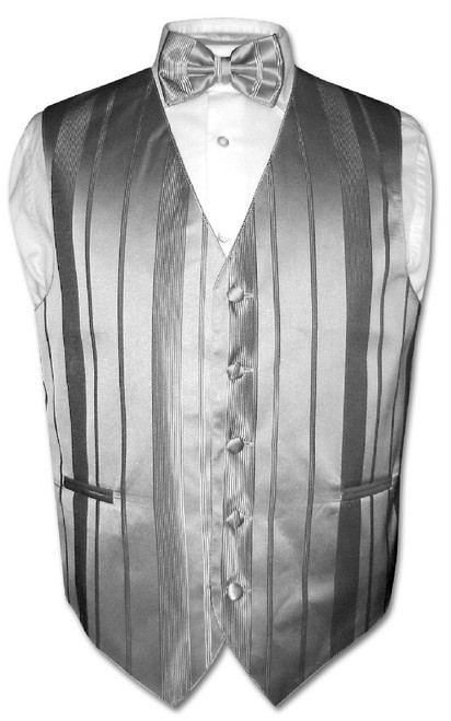 Mens Dress Vest BowTie Silver Grey Color Woven Striped Bow Tie Set