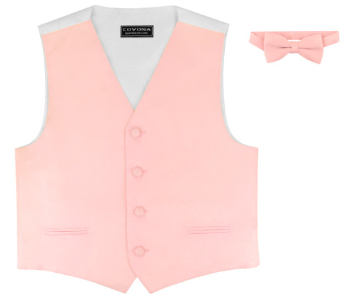 Covona Boys Dress Vest Bow Tie Solid Pink BowTie Set sz 8