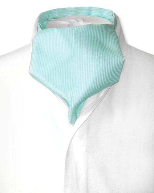 Turquoise Green Cravat | Solid Color Ribbed Ascot Cravat Mens Tie