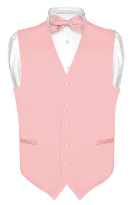 Mens Dress Vest & BowTie Solid Dusty Pink Color Bow Tie Set