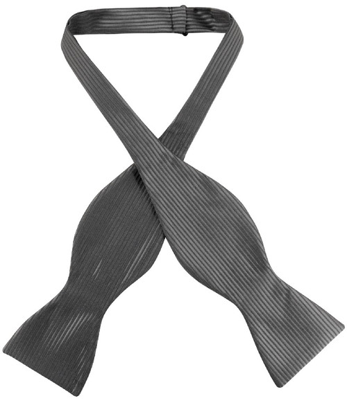 Antonio Ricci Self Tie Bow Tie Solid Charcoal Grey Ribbed Mens BowTie