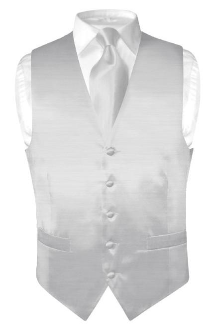 Biagio Mens Silver Grey Bamboo Silk Dress Vest Neck Tie Set sz 3XL