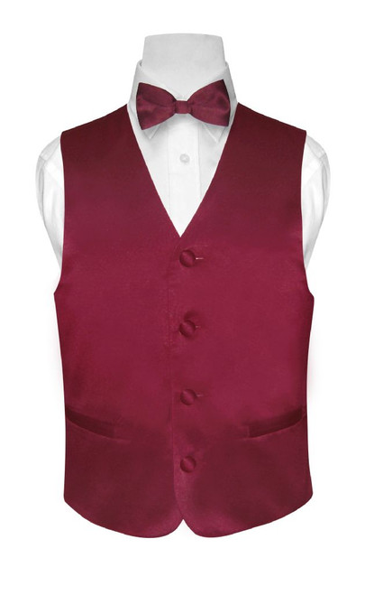 Boys Dress Vest Bow Tie Solid Burgundy Color BowTie Set