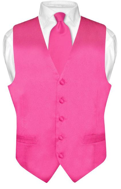 Biagio Mens Silk Dress Vest NeckTie Solid Hot Pink Fuchsia Tie Set
