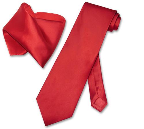 Biagio 100% Silk Solid Rose Red Color NeckTie Hanky Mens Neck Tie Set
