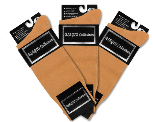 Solid Gold Color Mens Socks | 3 Pair of Biagio Cotton Dress Socks