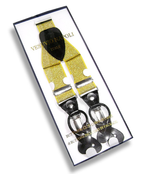 Mens Solid Metallic Gold Suspenders Y Shape Back Button & Clips