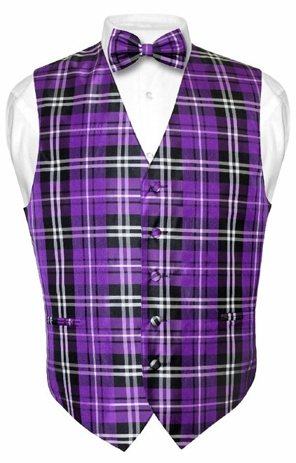 Mens Plaid Design Dress Vest & BowTie Purple Black White Bow Tie Set