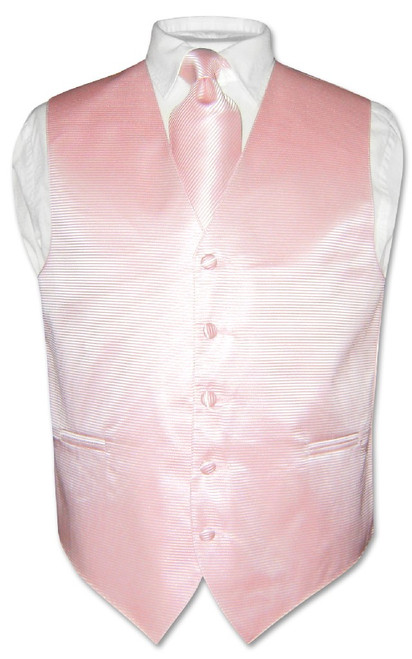 Mens Dress Vest NeckTie Pink Horizontal Stripe Neck Tie Design Set