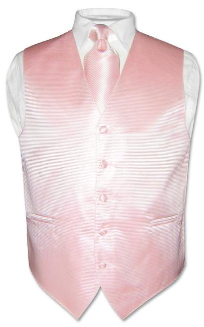 Mens Dress Vest NeckTie Pink Horizontal Stripe Neck Tie Design Set