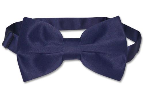 Vesuvio Napoli BowTie Solid Navy Blue Color Mens Bow Tie