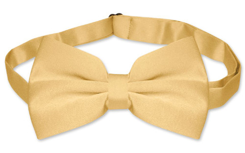 Mens Dress Vest And BowTie Solid Gold Color Bow Tie Set
