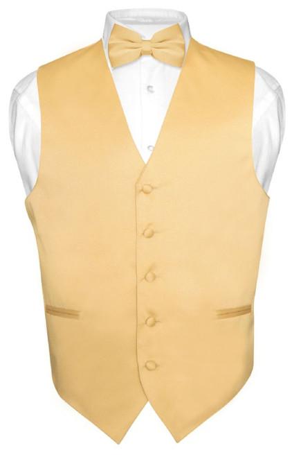 Mens Dress Vest And BowTie Solid Gold Color Bow Tie Set