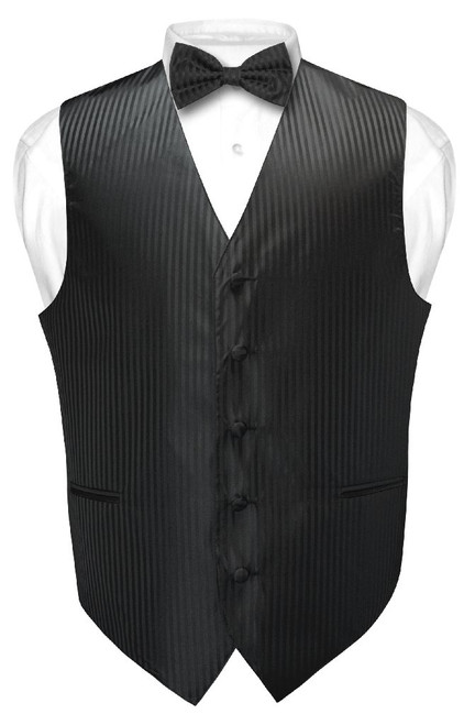 Mens Dress Vest BowTie Black Vertical Striped Bow Tie Set for Suit Tux