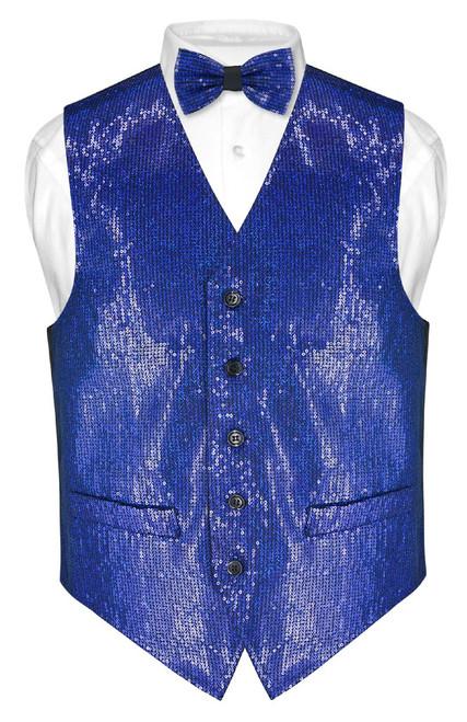 Mens SEQUIN Design Dress Vest & Bow Tie Royal Blue Color BowTie Set