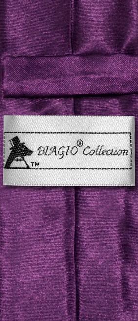 Biagio Boys NeckTie Solid Eggplant Purple Color Youth Neck Tie