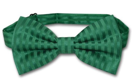 Vesuvio Napoli BowTie Emerald Green Vertical Stripes Mens Bow Tie
