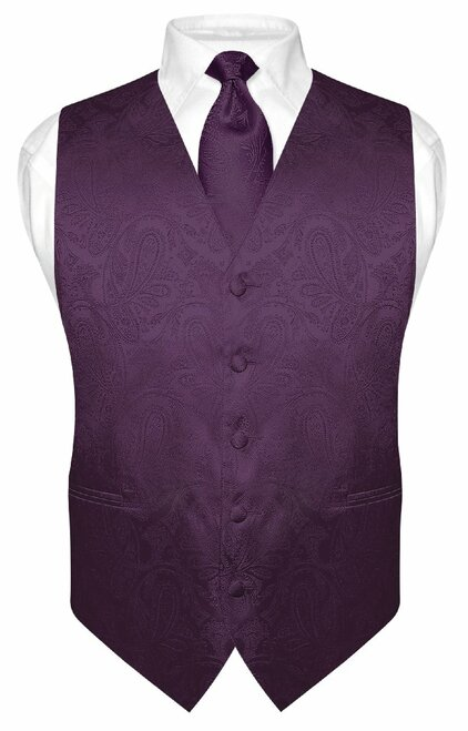 Mens Paisley Design Dress Vest NeckTie Dark Purple Color Neck Tie Set