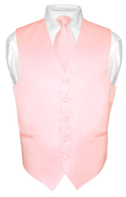 Mens Dress Vest & NeckTie Solid Pink Color Neck Tie Set