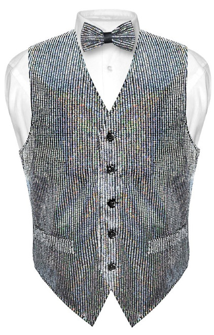 Mens SEQUIN Design Dress Vest & Bow Tie Silver Color BowTie Set