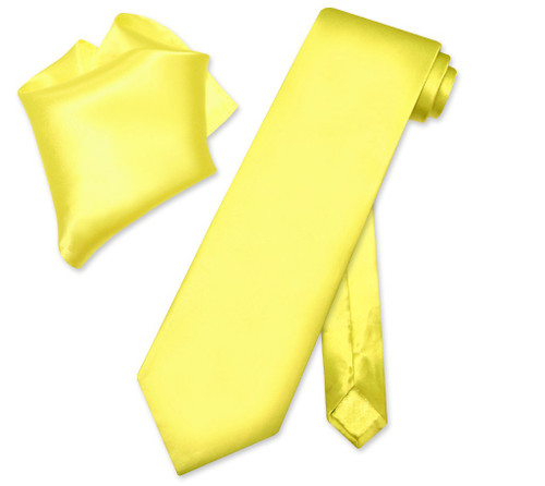 Biagio Silk Solid Yellow Color NeckTie Handkerchief Mens Neck Tie Set