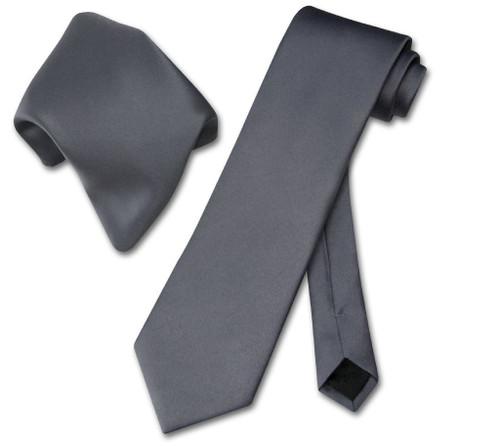 Vesuvio Napoli Solid Charcoal Grey NeckTie Handkerchief Mens Tie Set