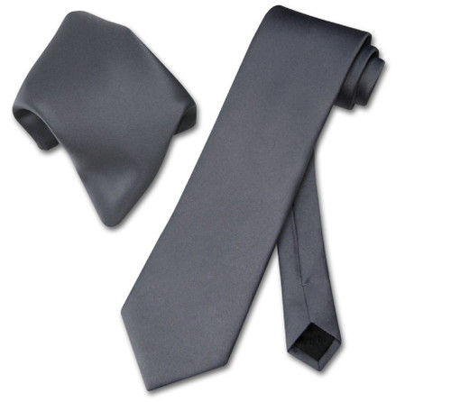 Vesuvio Napoli Solid Charcoal Grey NeckTie Handkerchief Mens Tie Set