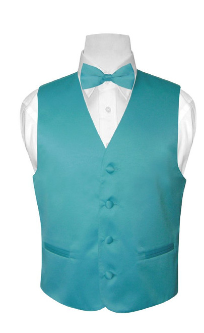 Boys Dress Vest Bow Tie Turquoise Aqua Blue Color BowTie Set